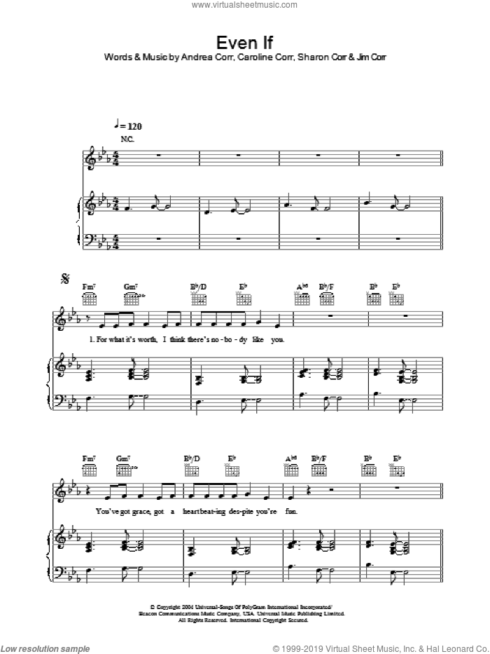 Even If sheet music for voice, piano or guitar by The Corrs and Andrea Corr. Score Image Preview.
