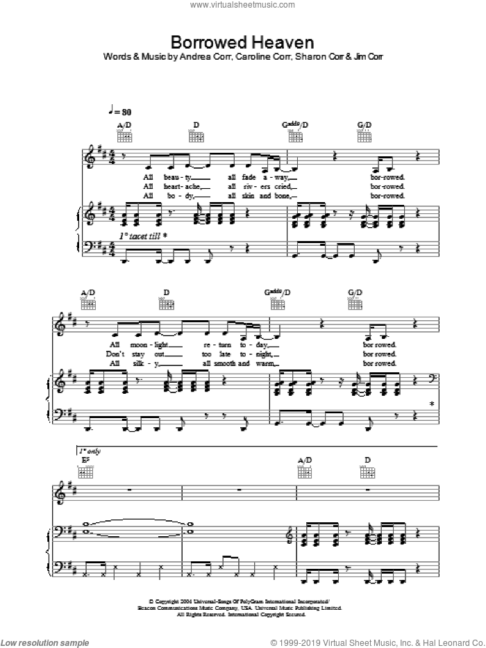 Borrowed Heaven sheet music for voice, piano or guitar by The Corrs, Andrea Corr, Caroline Corr and Sharon Corr, intermediate skill level