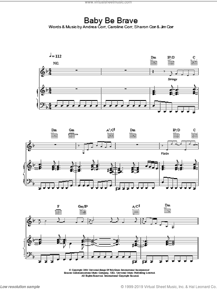 Baby Be Brave sheet music for voice, piano or guitar by Andrea Corr, The Corrs, Caroline Corr and Sharon Corr, intermediate skill level