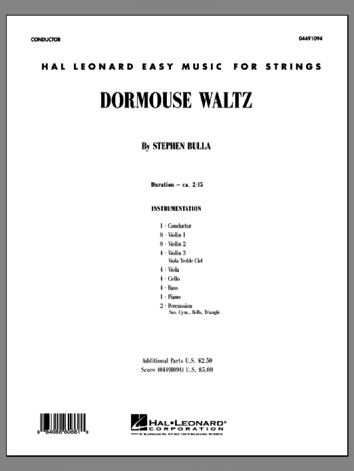 Dormouse Waltz (COMPLETE) sheet music for orchestra by Stephen Bulla, intermediate orchestra. Score Image Preview.