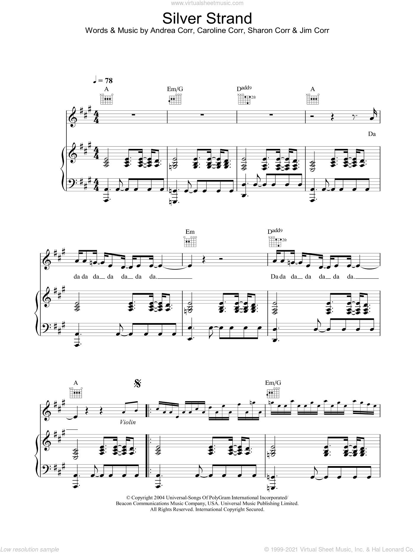 Silver Strand sheet music for voice, piano or guitar by Sharon Corr, The Corrs and Andrea Corr. Score Image Preview.