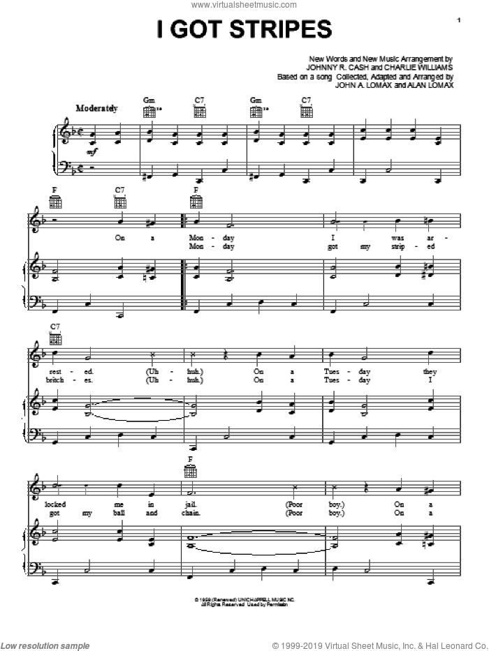 I Got Stripes sheet music for voice, piano or guitar by Charles Williams
