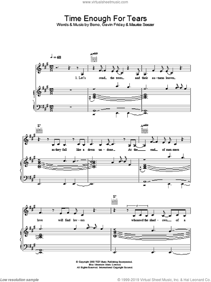 Time Enough For Tears sheet music for voice, piano or guitar by The Corrs, Bono, Gavin Friday and Maurice Seezer, intermediate. Score Image Preview.