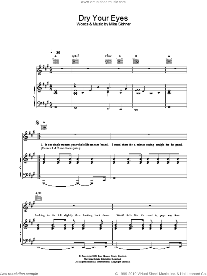 Dry Your Eyes sheet music for voice, piano or guitar by The Streets, intermediate voice, piano or guitar. Score Image Preview.