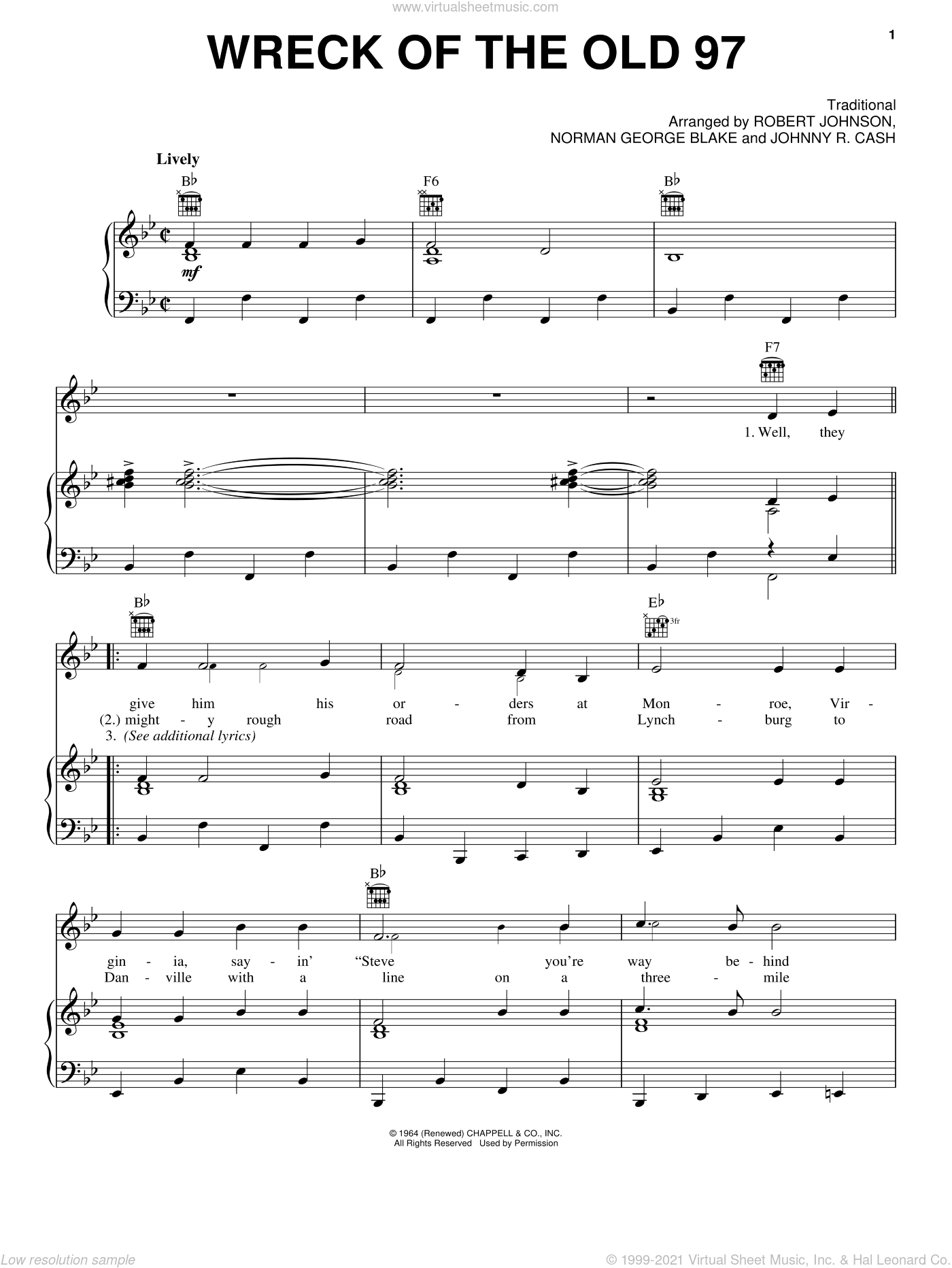 Wreck Of The Old 97 sheet music for voice, piano or guitar by Johnny Cash and Miscellaneous, intermediate skill level