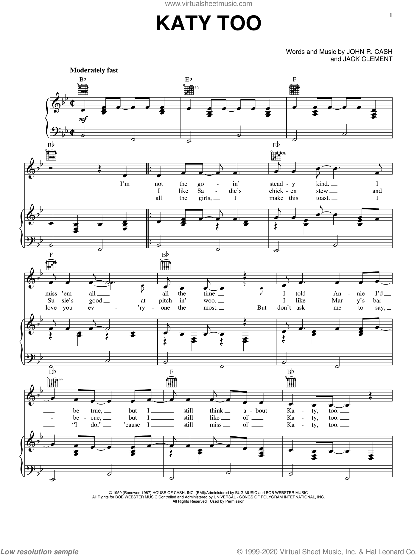 Katy Too sheet music for voice, piano or guitar by Johnny Cash and Jack Clement, intermediate skill level