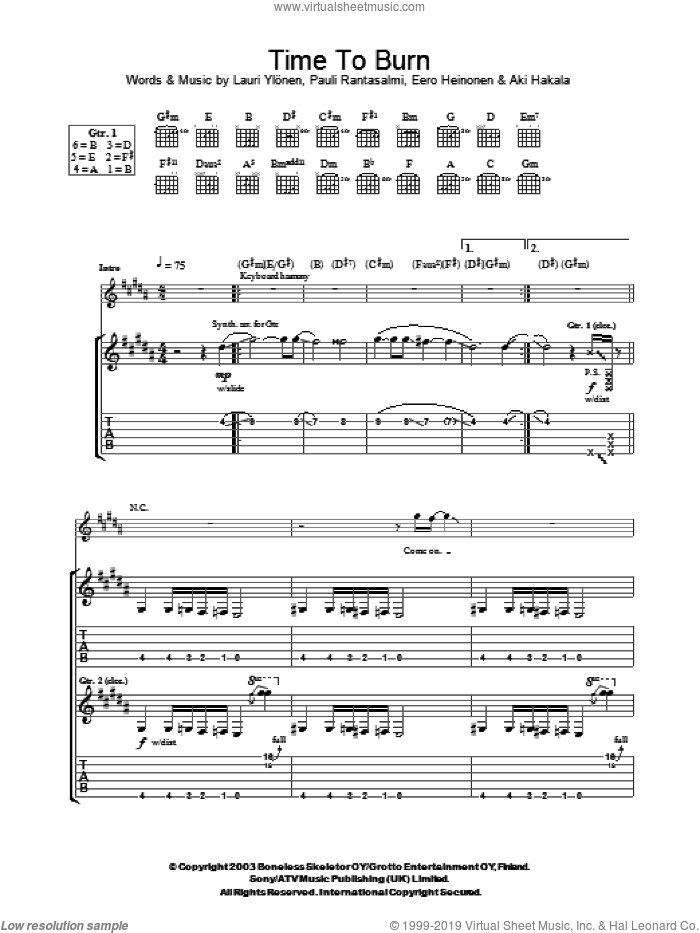 Time To Burn sheet music for guitar (tablature) by Pauli Rantasalmi and The Rasmus. Score Image Preview.