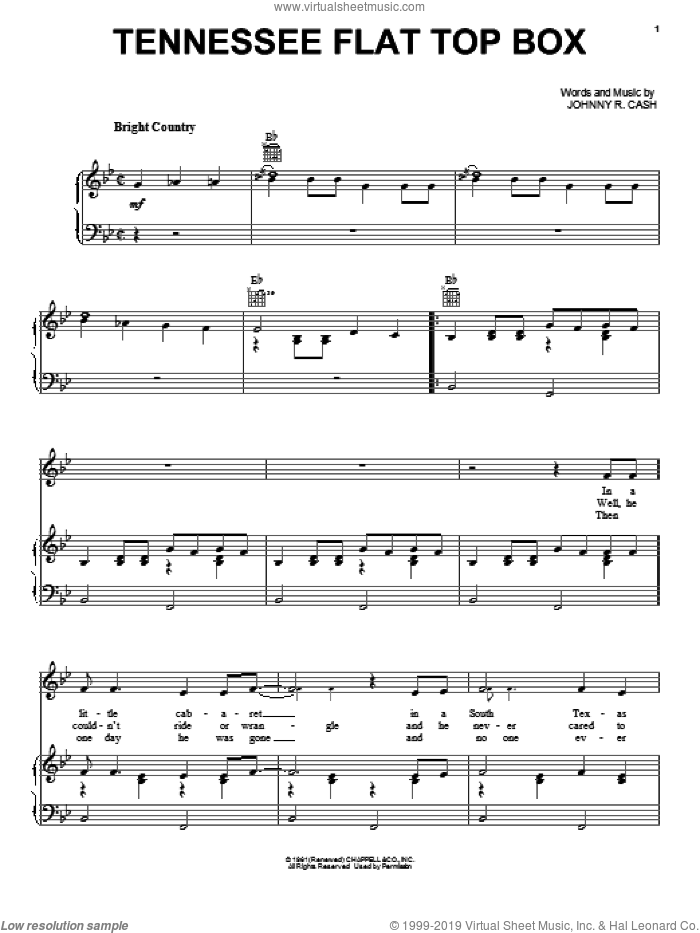 Tennessee Flat Top Box sheet music for voice, piano or guitar by Johnny Cash and Rosanne Cash, intermediate. Score Image Preview.