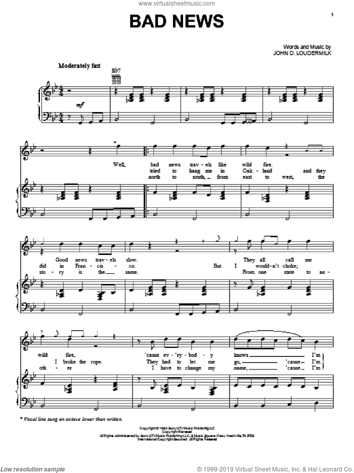 Bad News sheet music for voice, piano or guitar by John D. Loudermilk