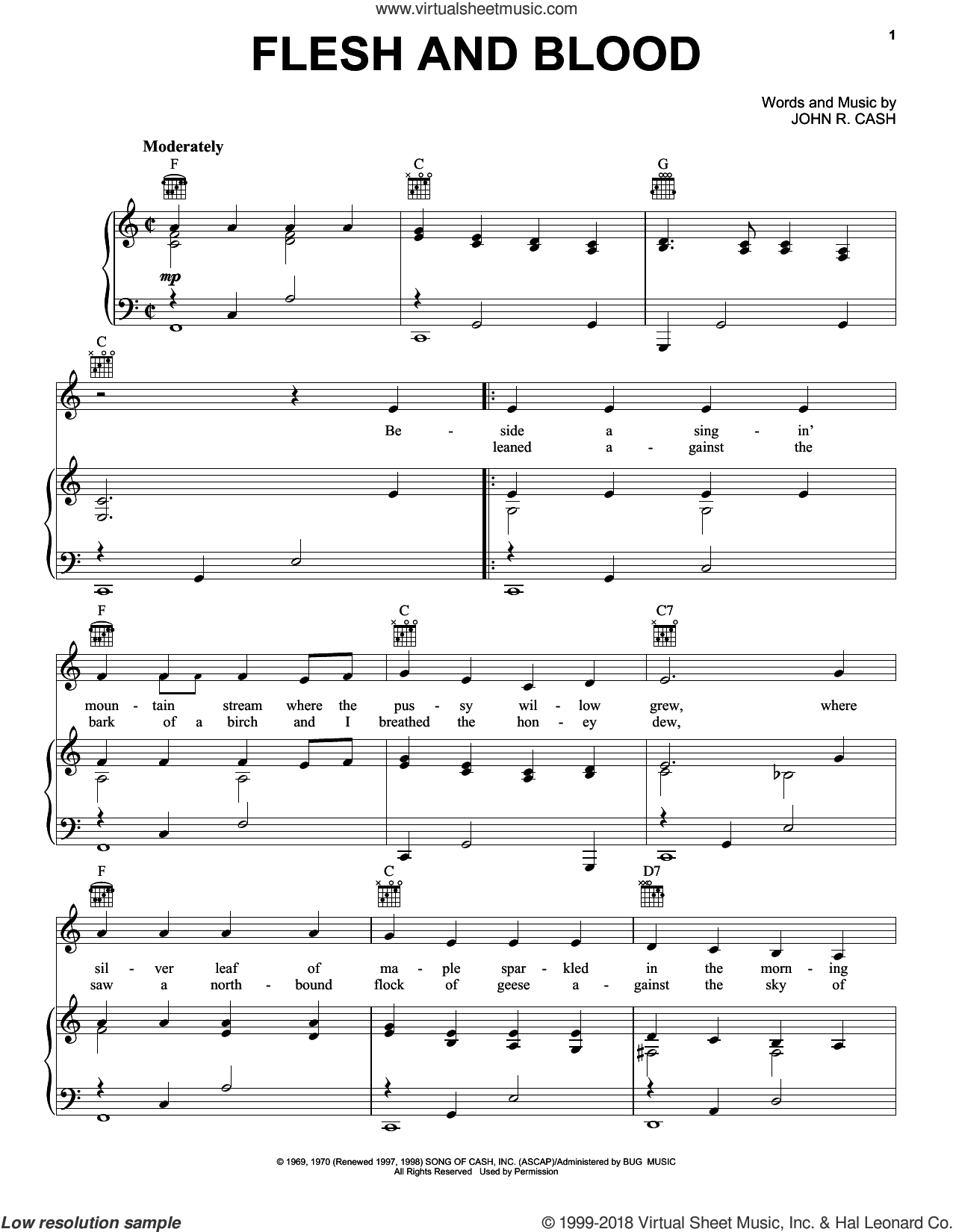 Flesh And Blood sheet music for voice, piano or guitar by Johnny Cash