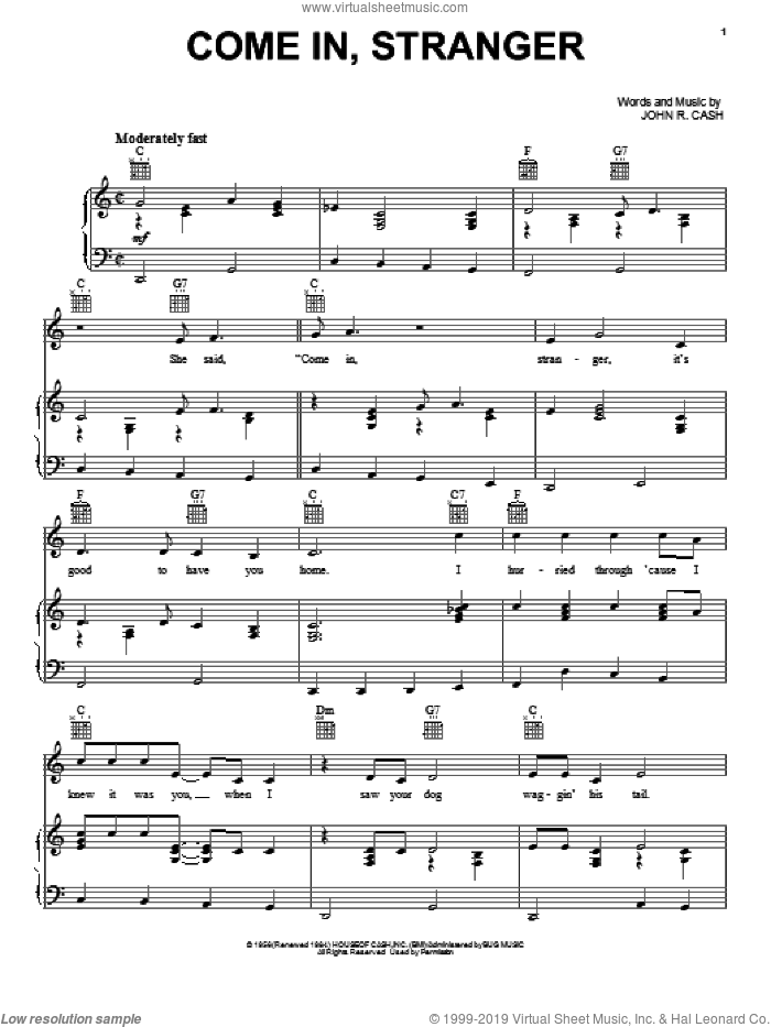 Come In, Stranger sheet music for voice, piano or guitar by Johnny Cash. Score Image Preview.