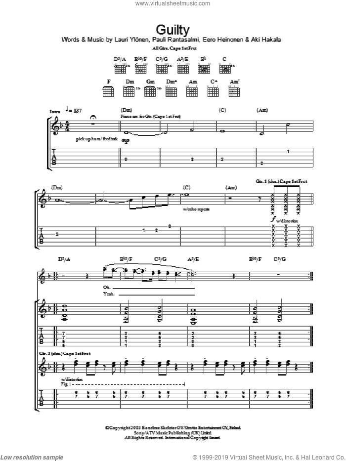 Guilty sheet music for guitar (tablature) by The Rasmus, Eero Heinonen, Lauri Ylonen and Pauli Rantasalmi, intermediate