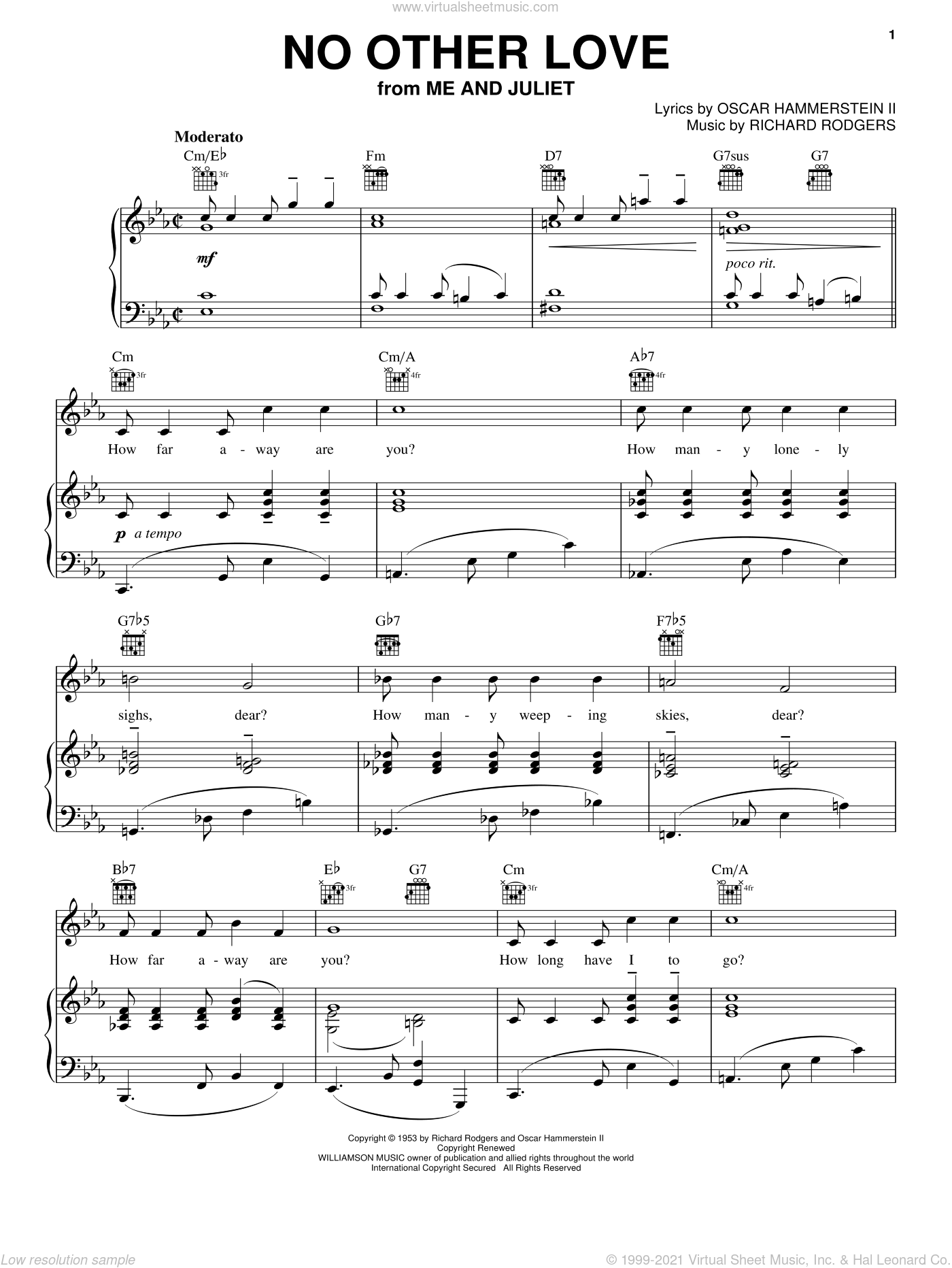 No Other Love sheet music for voice, piano or guitar by Rodgers & Hammerstein, Me And Juliet (Musical), Oscar II Hammerstein and Richard Rodgers, wedding score, intermediate skill level