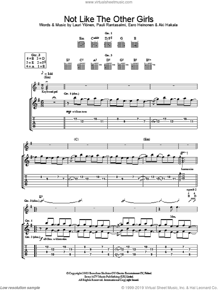 Not Like The Other Girls sheet music for guitar (tablature) by The Rasmus, intermediate. Score Image Preview.