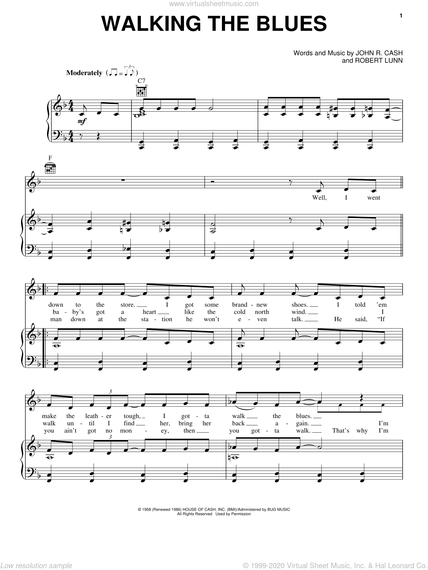 Walking The Blues sheet music for voice, piano or guitar by Robert Lunn and Johnny Cash. Score Image Preview.