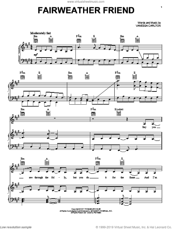 Fairweather Friend sheet music for voice, piano or guitar by Vanessa Carlton. Score Image Preview.