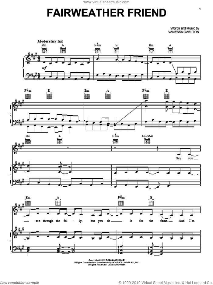 Fairweather Friend sheet music for voice, piano or guitar by Vanessa Carlton, intermediate skill level