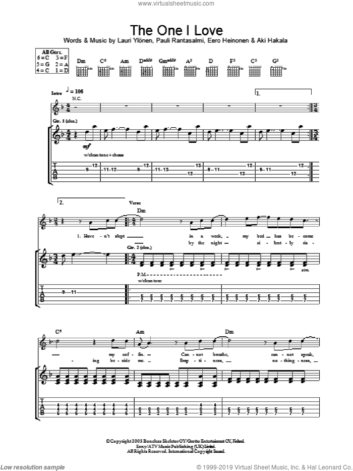 The One I Love sheet music for guitar (tablature) by The Rasmus. Score Image Preview.