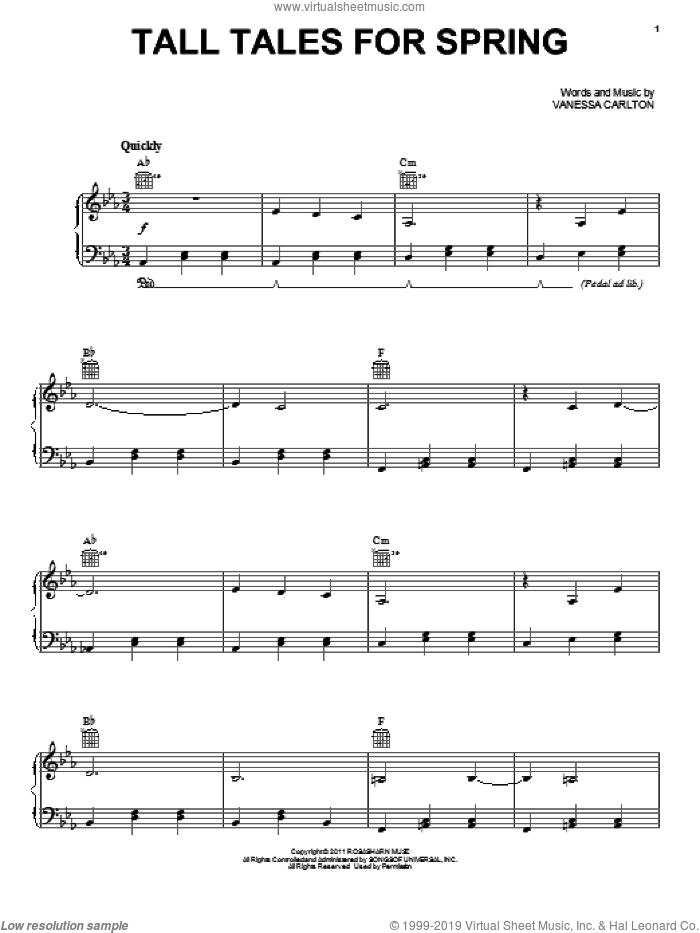 Tall Tales For Spring sheet music for voice, piano or guitar by Vanessa Carlton. Score Image Preview.