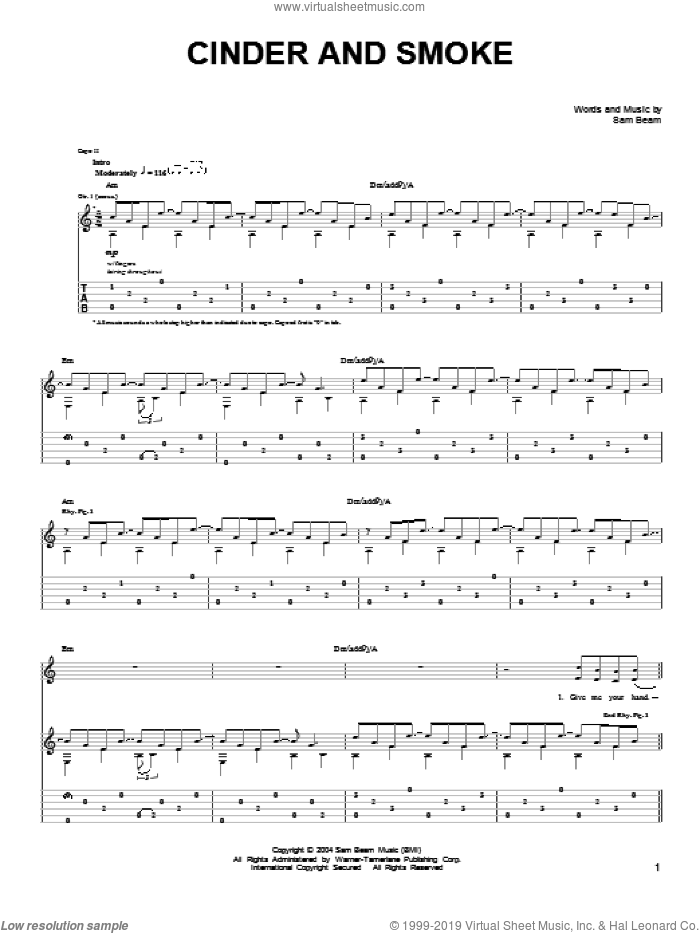 Cinder And Smoke sheet music for guitar solo (chords) by Samuel Beam