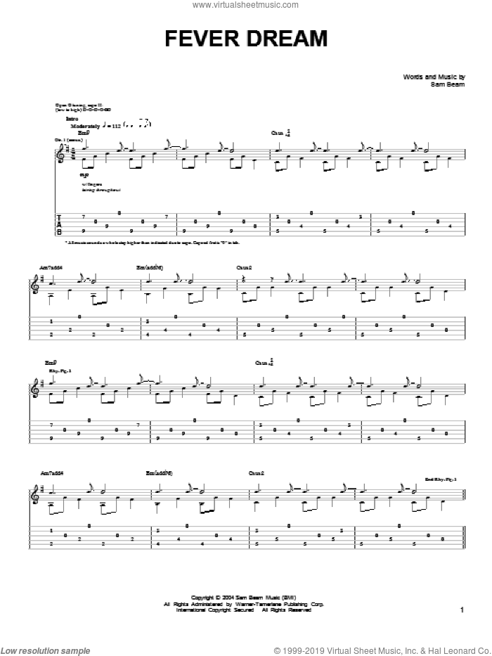 Fever Dream sheet music for guitar solo (chords) by Iron & Wine and Samuel Beam, easy guitar (chords). Score Image Preview.