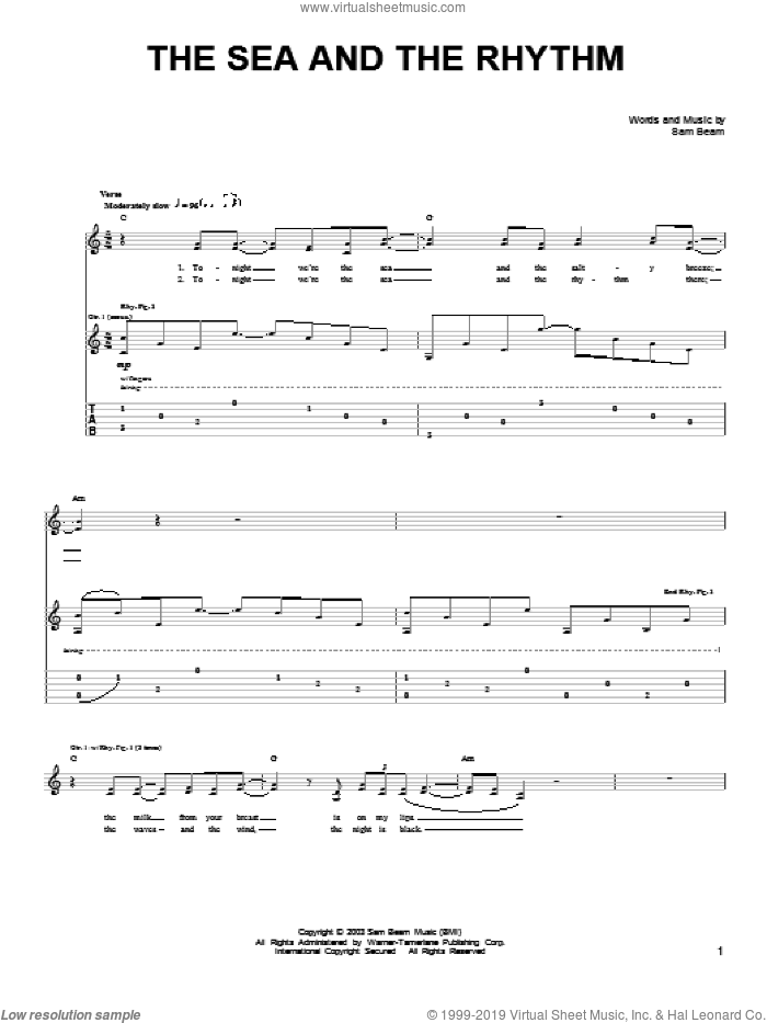 The Sea And The Rhythm sheet music for guitar solo (chords) by Samuel Beam