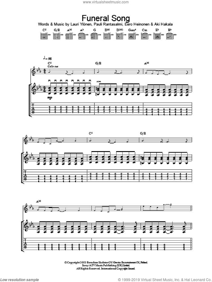 Funeral Song sheet music for guitar (tablature) by The Rasmus, intermediate. Score Image Preview.