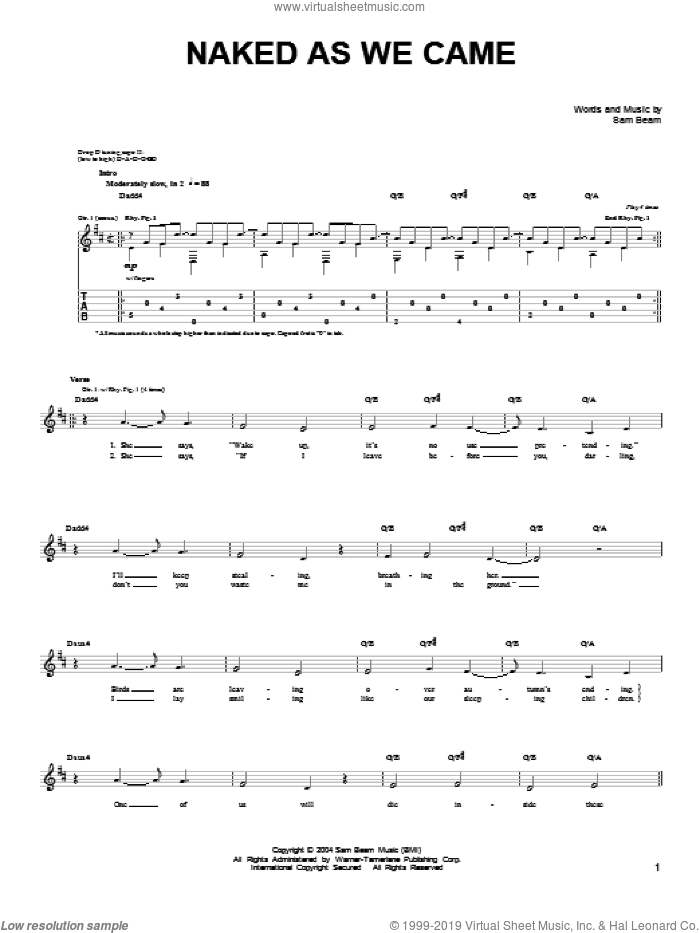 Naked As We Came sheet music for guitar solo (chords) by Samuel Beam