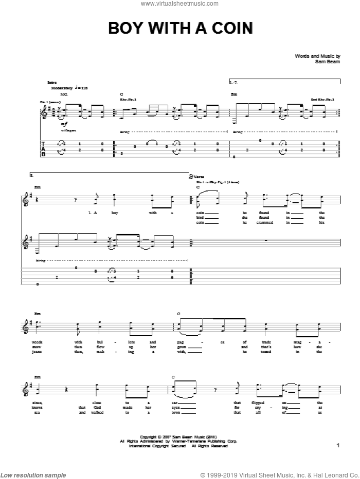 Boy With A Coin sheet music for guitar solo (chords) by Iron & Wine and Samuel Beam, easy guitar (chords)