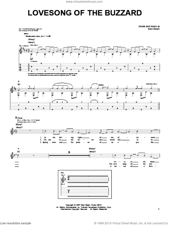 Lovesong Of The Buzzard sheet music for guitar solo (chords) by Samuel Beam