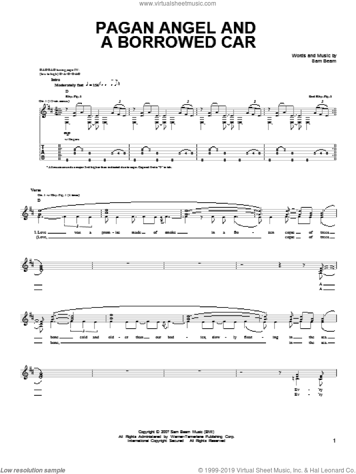 Pagan Angel And A Borrowed Car sheet music for guitar solo (chords) by Samuel Beam