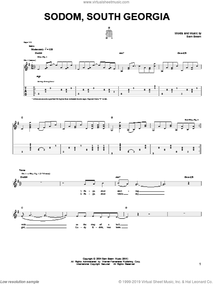 Sodom, South Georgia sheet music for guitar solo (chords) by Samuel Beam. Score Image Preview.