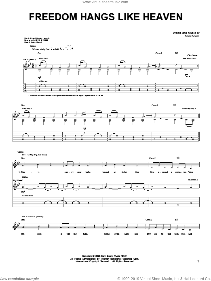Freedom Hangs Like Heaven sheet music for guitar solo (chords) by Samuel Beam. Score Image Preview.