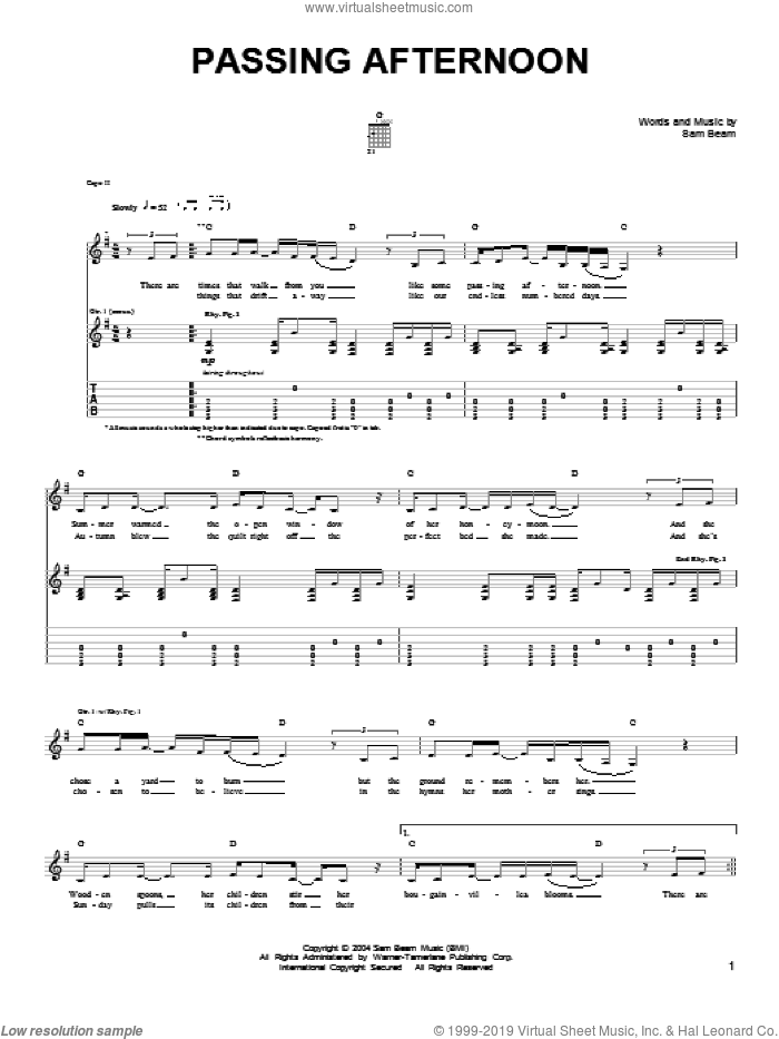 Passing Afternoon sheet music for guitar solo (chords) by Samuel Beam