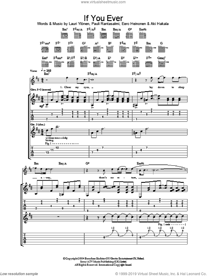 If You Ever sheet music for guitar (tablature) by Pauli Rantasalmi