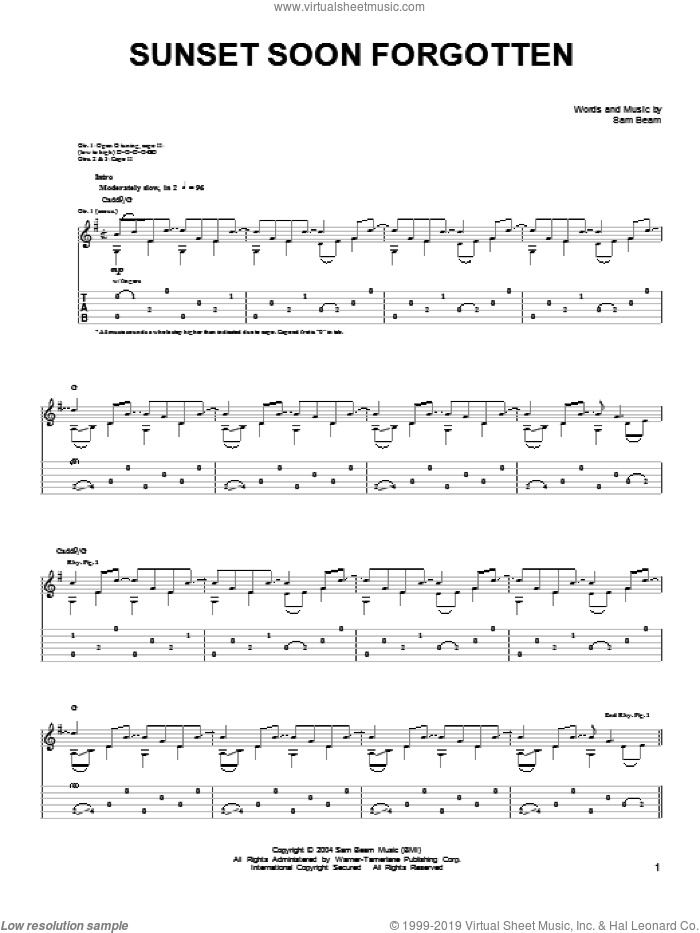 Sunset Soon Forgotten sheet music for guitar solo (chords) by Samuel Beam. Score Image Preview.