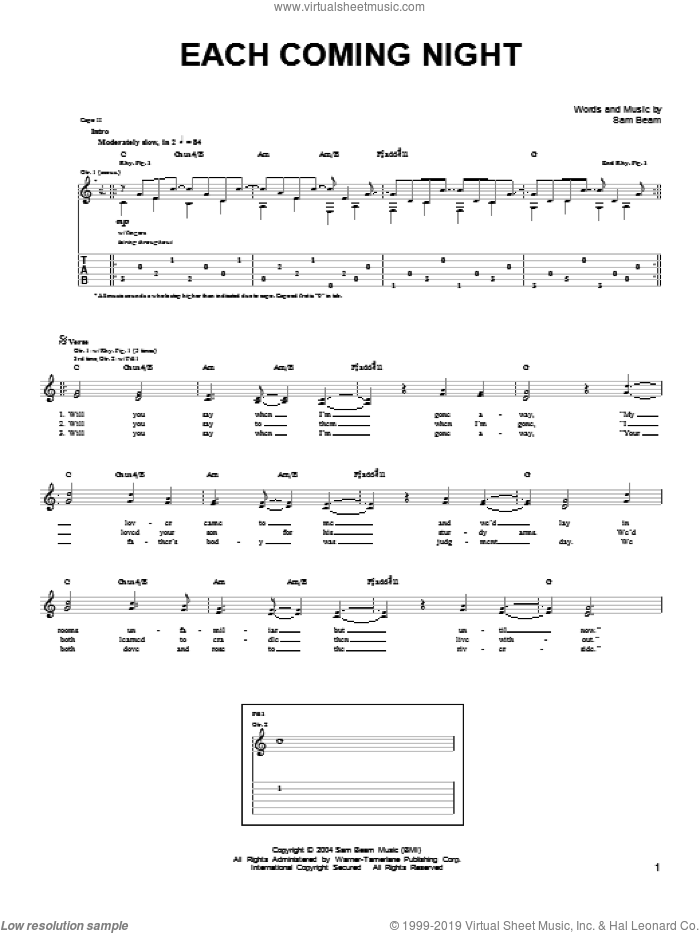 Each Coming Night sheet music for guitar solo (chords) by Samuel Beam. Score Image Preview.