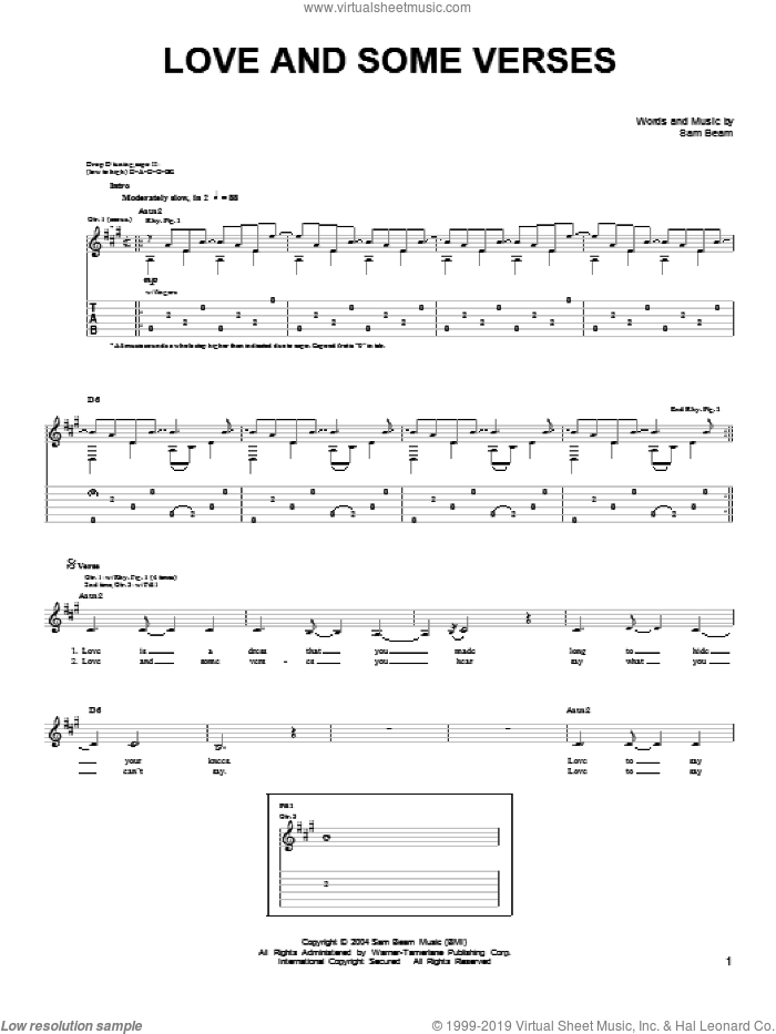 Love And Some Verses sheet music for guitar solo (chords) by Samuel Beam