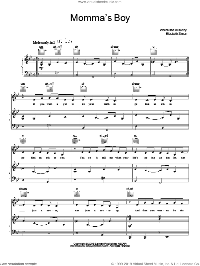 Momma's Boy sheet music for voice, piano or guitar by Elizabeth & The Catapult and Elizabeth Ziman, intermediate skill level