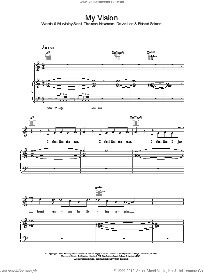 My Vision sheet music for voice, piano or guitar by Thomas Newman, David Lee and Manuel Seal. Score Image Preview.