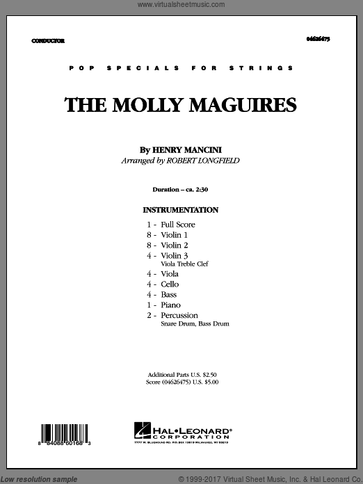 The Molly Maguires (COMPLETE) sheet music for orchestra by Henry Mancini