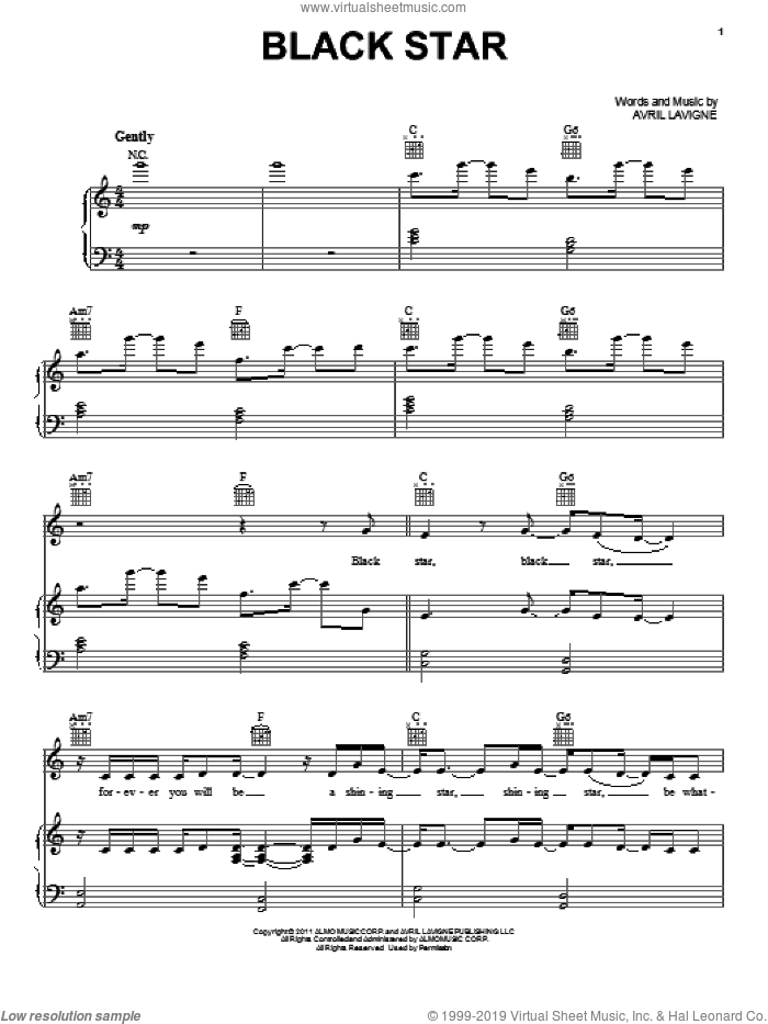Black Star sheet music for voice, piano or guitar by Avril Lavigne. Score Image Preview.