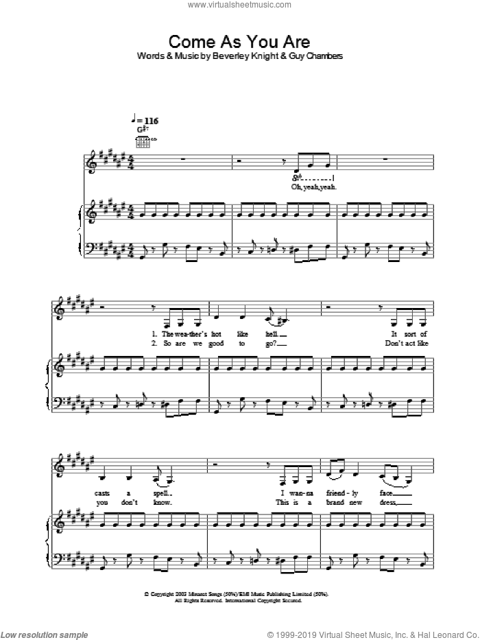 Come As You Are sheet music for voice, piano or guitar by Guy Chambers and Beverley Knight. Score Image Preview.