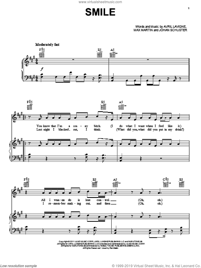 Smile sheet music for voice, piano or guitar by Avril Lavigne, Johan Schuster and Max Martin. Score Image Preview.