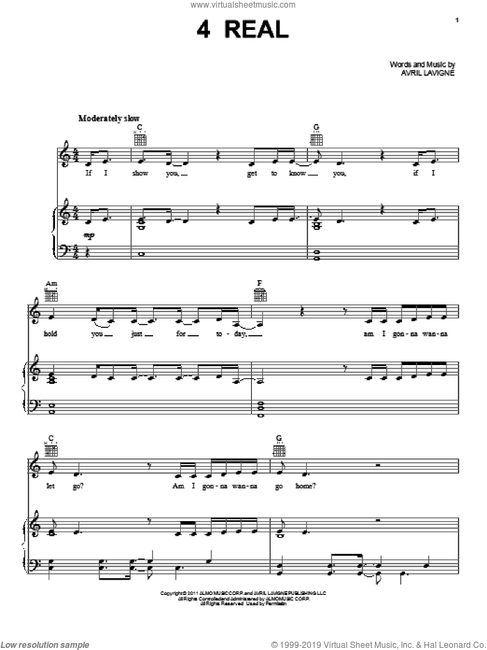 4 Real sheet music for voice, piano or guitar by Avril Lavigne, intermediate voice, piano or guitar. Score Image Preview.