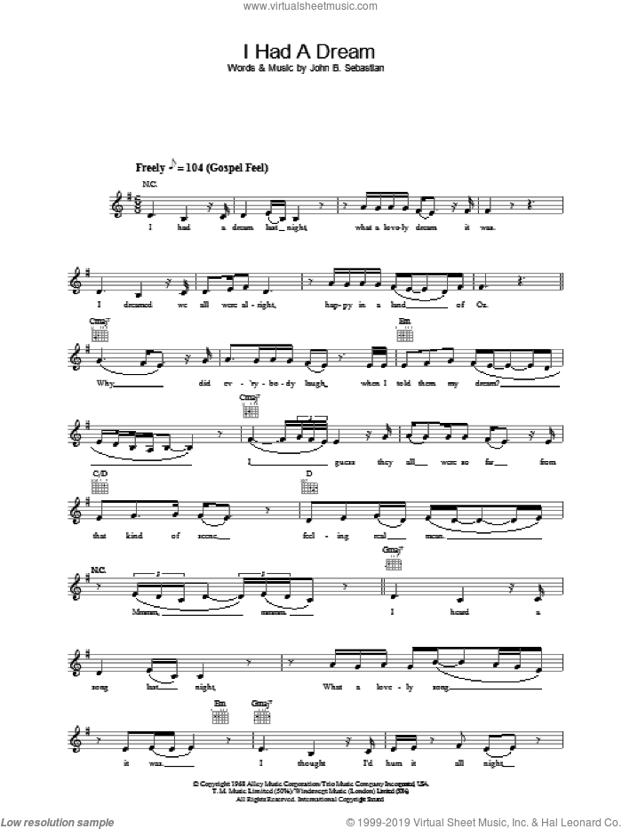 I Had A Dream sheet music for voice and other instruments (fake book) by John Sebastian and Joss Stone. Score Image Preview.
