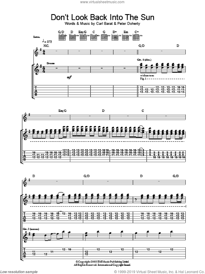 Don't Look Back Into The Sun sheet music for guitar (tablature) by The Libertines and Pete Doherty, intermediate guitar (tablature). Score Image Preview.