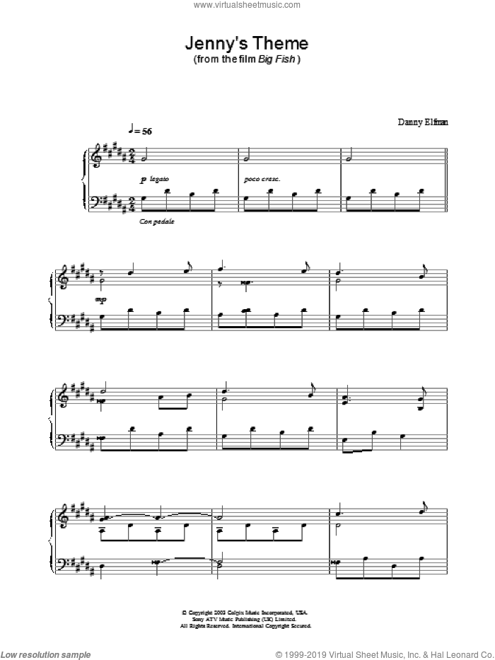 Jenny's Theme sheet music for piano solo by Big Fish and Danny Elfman, intermediate
