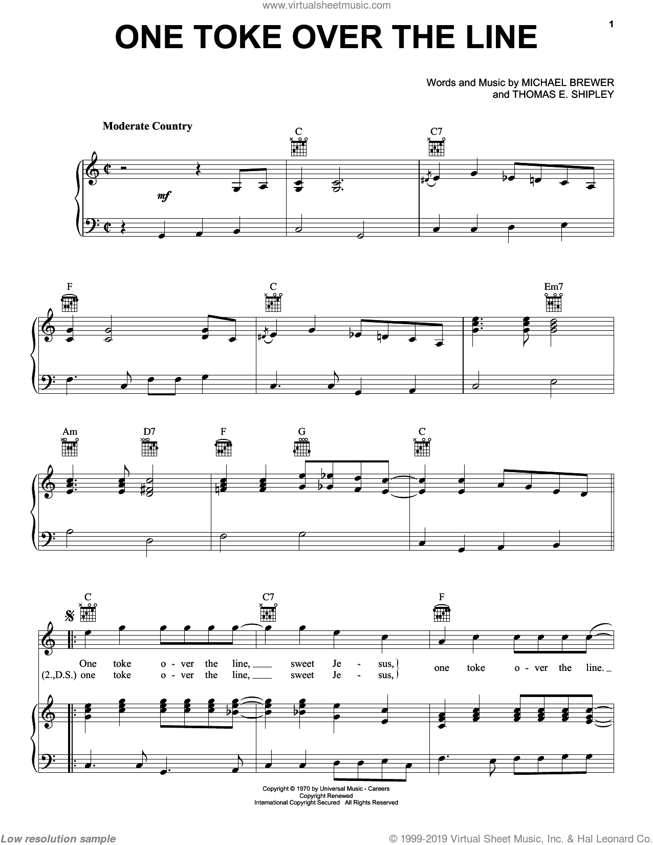 One Toke Over The Line sheet music for voice, piano or guitar by Brewer & Shipley, Michael Brewer and Thomas E. Shipley, intermediate skill level
