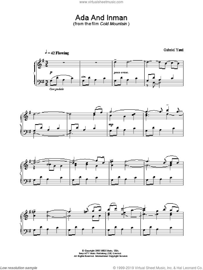 Ada And Inman sheet music for piano solo by Gabriel Yared and Cold Mountain (Movie), intermediate skill level